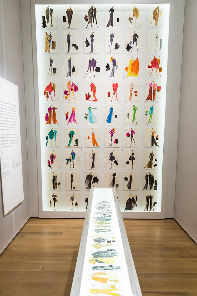 Installation view of sketches for the first Isaac Mizrahi New York collection show, fall 1988. On view in the exhibition Isaac Mizrahi: An Unruly History, March 18-August 7, 2016.